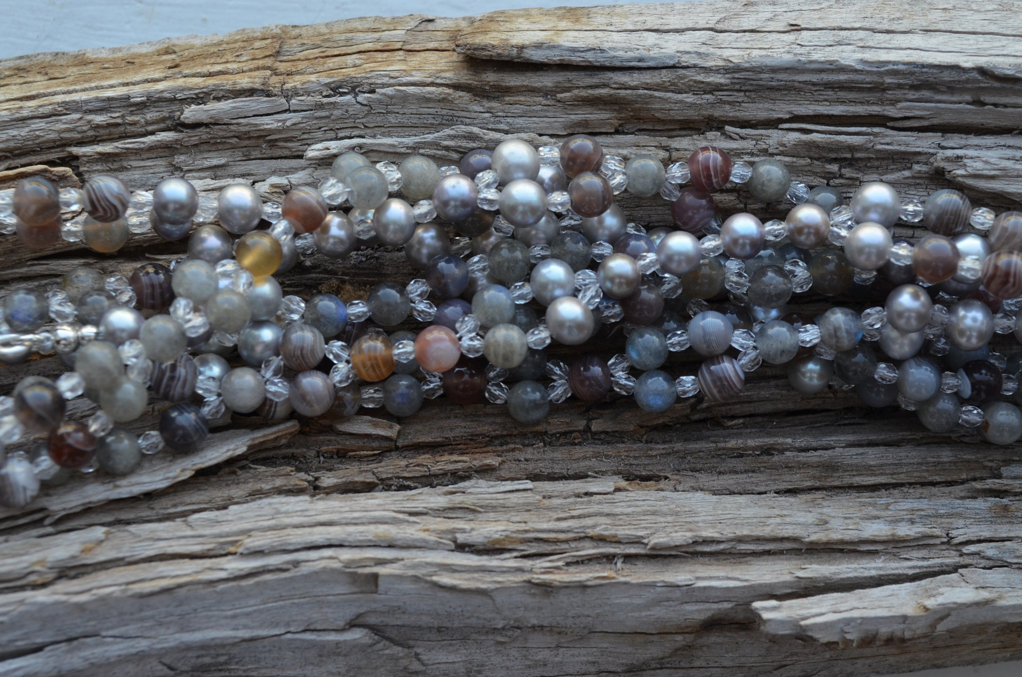 6mm Botswana Agate, Labradorite with Grey Pearl and Czech Crystal