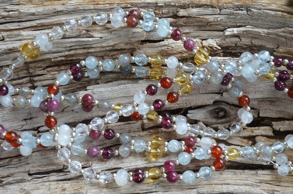 4mm Navratna: cool tones - Aquamarine, Red Tourmaline, Blue Topaz and more ... plus Sterling Silver