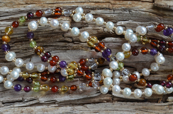 4mm Navratna: warm tones - Garnet, Peridot, Pearls and more ... plus Gold-Filled