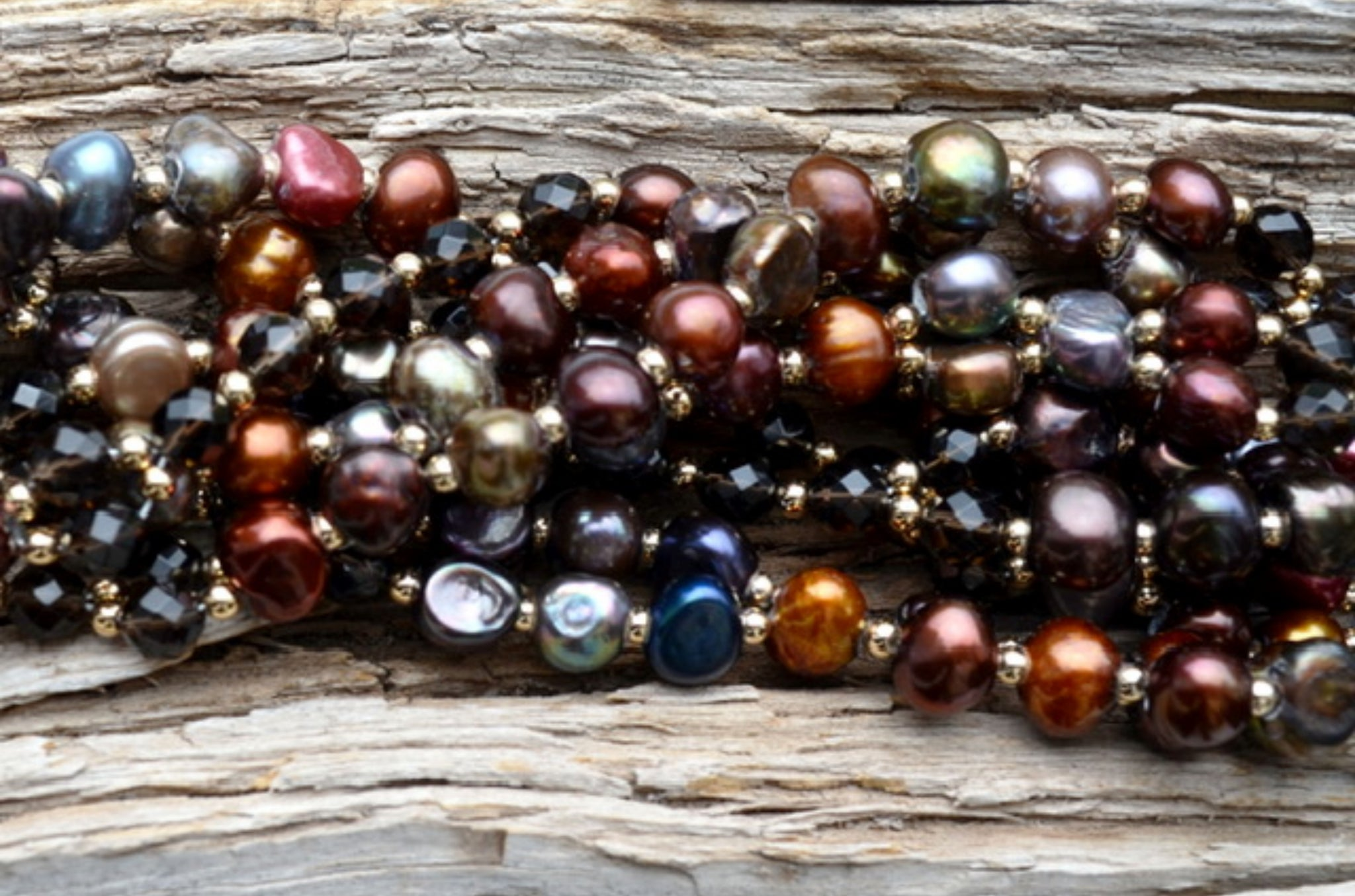 8mm Irregular Multicolor Pearls & Smokey Quartz with Gold Filled, Limited Edition