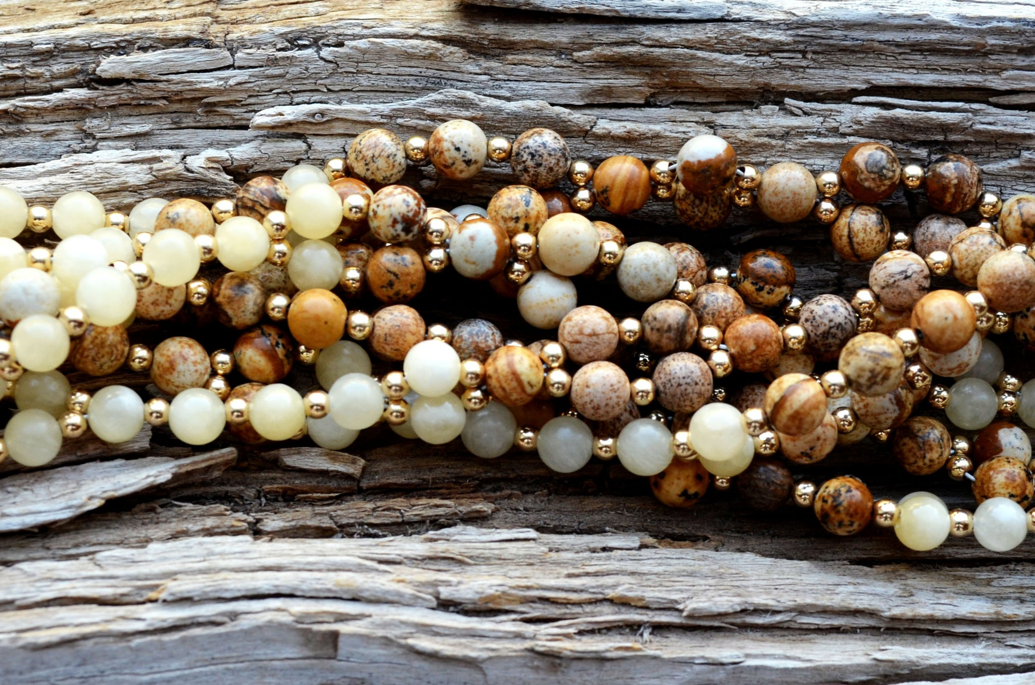6mm Picture Jasper & Calcite with Gold Filled