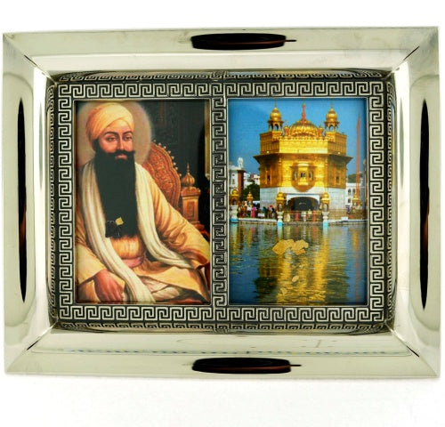 "Wide Rectangular 5""x6"" Double Framed Guru Ram Das & Golden Temple"