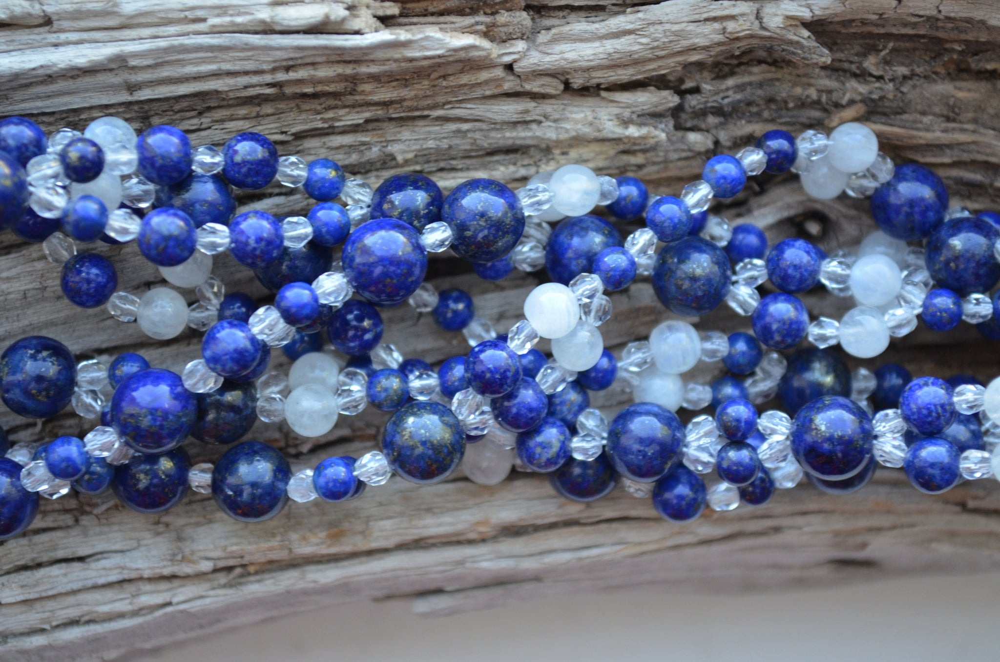 6mm, 4mm & 8mm Lapis, 5mm Moonstone and Fire Polished Crystal