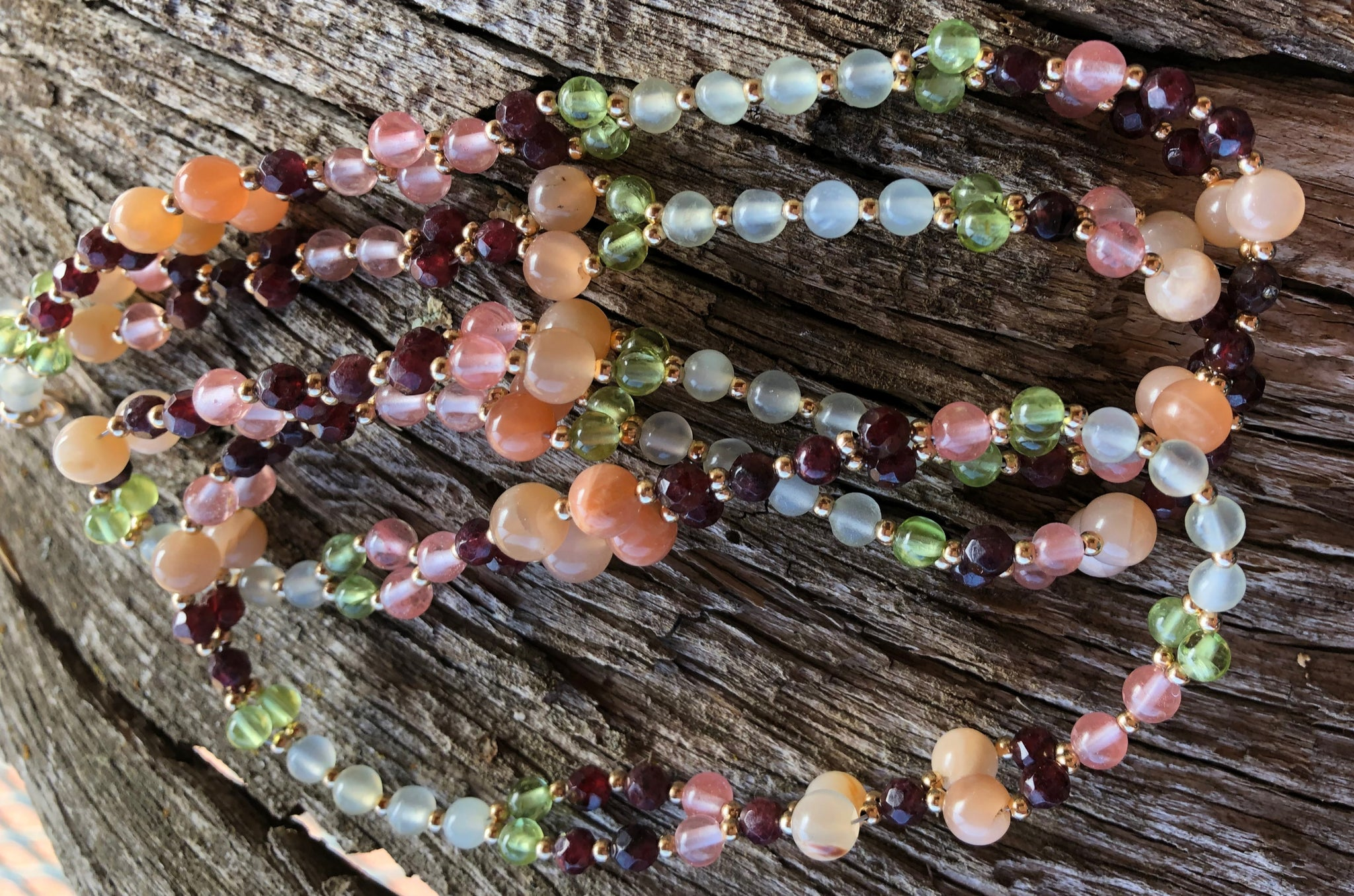 4mm Cherry Quartz, Peridot and more with Gold Filled