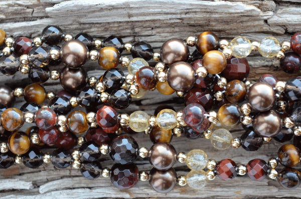 6mm Tiger Eye, Poppy Jasper, Citrine,  6 & 8mm Red TE,  8mm Coffee Pearl & Gold-Filled