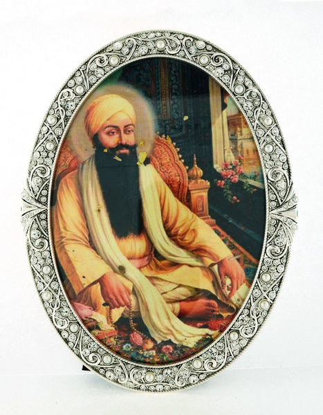 "Tall 6"" x 7 3/4"" Oval Framed Guru Ram Das"