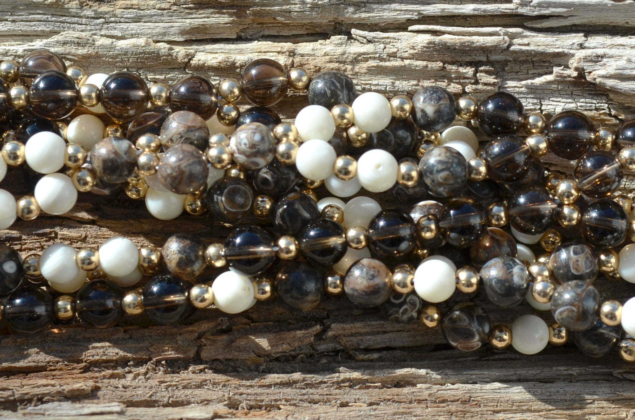 6mm Turitella Agate, 5mm White Coral with 6mm Smoky Quartz and Gold Filled