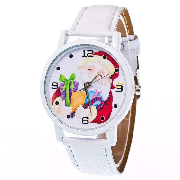 GENVIVIA TOP Brand Women's Watch Fashion Christmas Elderly Pattern Leather Band Analog Quartz Vogue Watches reloj mujer