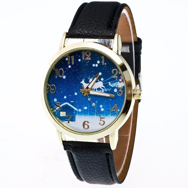 Fashion Women Christmas Elderly Pattern Leather Band Analog Quartz Vogue Watches High Quality Buckle montre femme