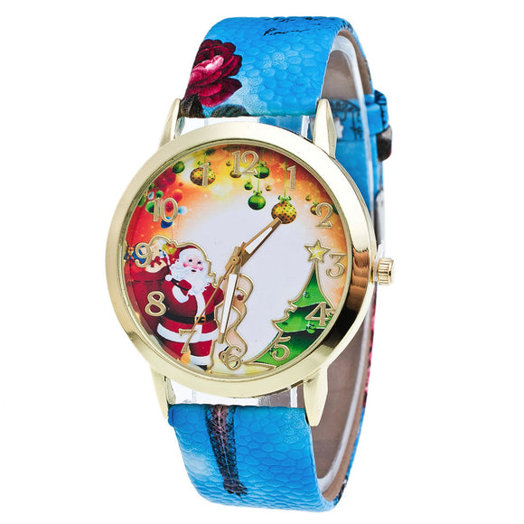 Christmas Elderly And Tree Pattern Leather Band Analog Quartz Vogue Watches