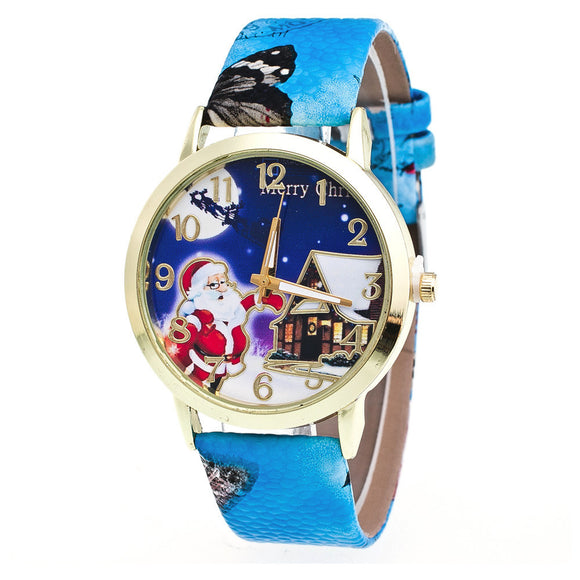 Christmas Elderly Pattern Leather Band Analog Quartz Vogue Watches