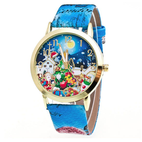 Christmas Pattern Leather Band Analog Quartz Vogue Watches