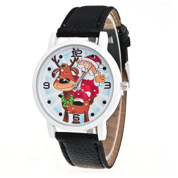 New Christmas Elderly Pattern Leather Band Analog Quartz Vogue Watches