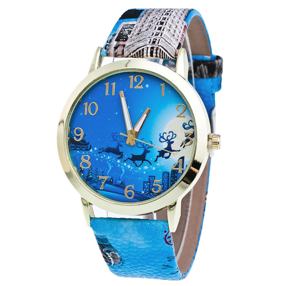 New Christmas Pattern Leather Band Analog Quartz Vogue Watches