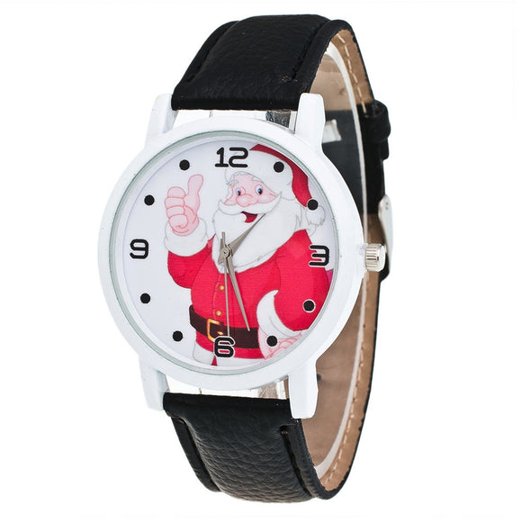 Fashion Christmas Elderly Pattern Leather Band Analog Quartz Vogue Watches