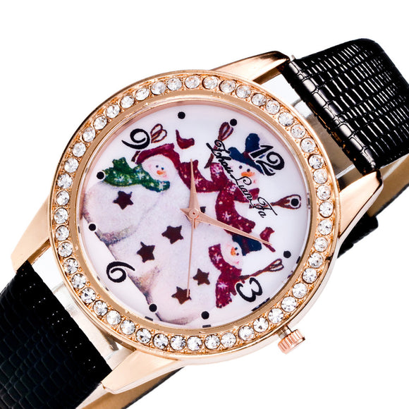 Women Christmas Snowman Analog Quartz Watch Leather Band Rhinestone Wrist Watch