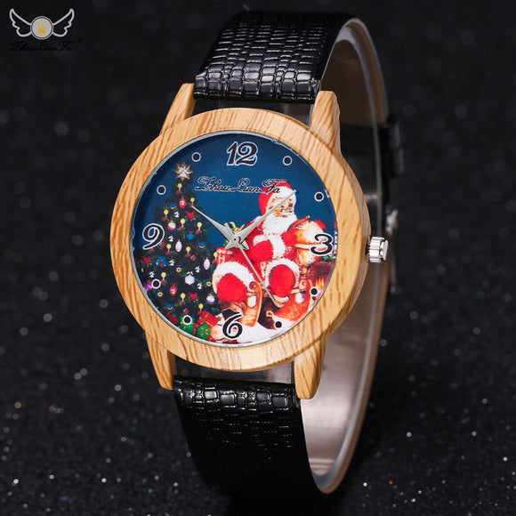 Christmas Elderly Pattern Wood Grain Letter Band Analog Quartz Vogue Watches