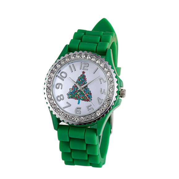 Christmas Tree Silica Gel Quartz Analog Watch as Christmas Gift