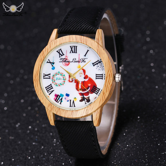 Christmas Elderly Pattern Wood Grain Denim Band Analog Quartz Vogue Watches