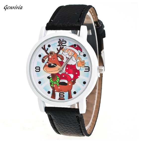 GENEVIVIA New Christmas Elderly Pattern Leather Band Analog Quartz Vogue Watches Women Bracelet Watch Ladies Wrist Watch Female