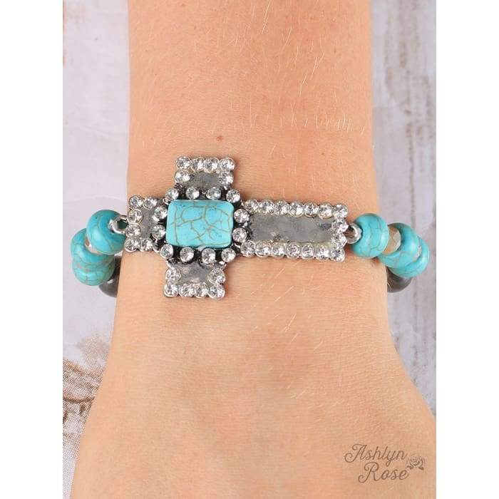 Bracelet Silver and Turquoise Hammered Cross - Accessories- Jewelry and Totes