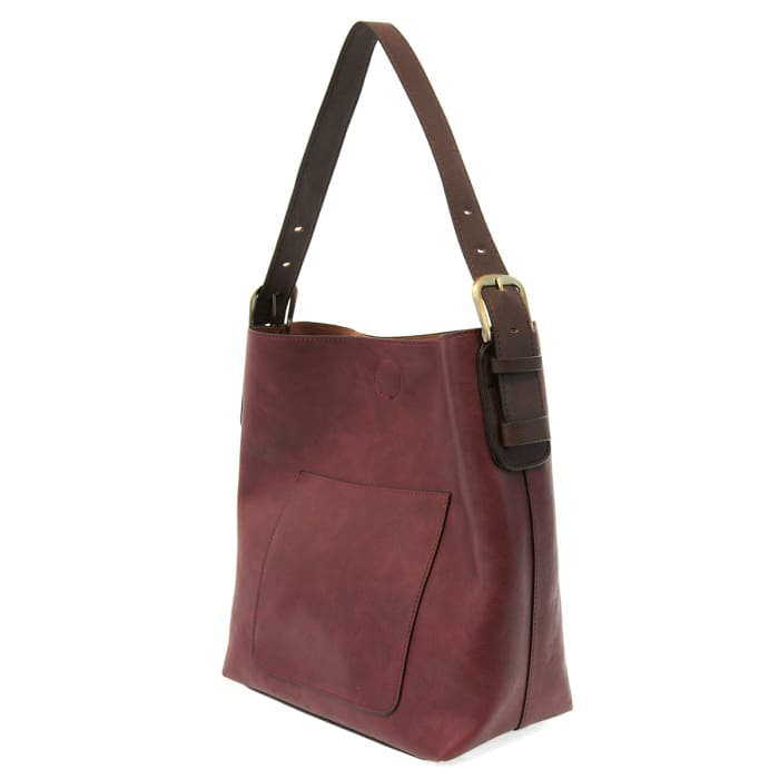 Burgundy Hobo Tote Brown Handle - Accessories- Jewelry and Totes