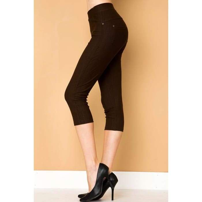 Capri Stretch Jeggings Shaping Plus 1X-3X Black Charcoal Navy Fuchsia - Apparel - Plus Size 1XL - 3XL