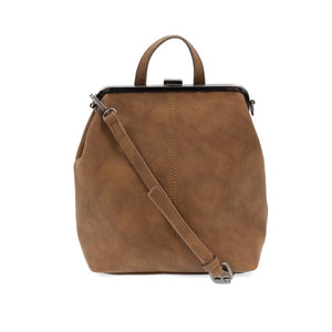 Chestnut Phyllis Nubuck Frame Convertible Purse Tote Backpack - Accessories- Jewelry and Totes