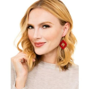 Earring Imperial Lattice Red Zenzii - Accessories- Jewelry and Totes