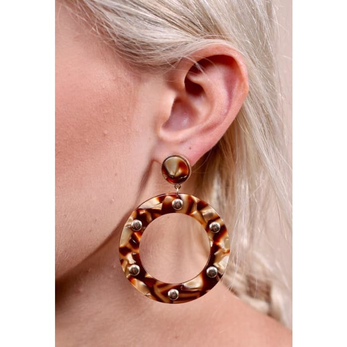 Earring LeeLee Tortoise Hoop Resin - Accessories- Jewelry and Totes