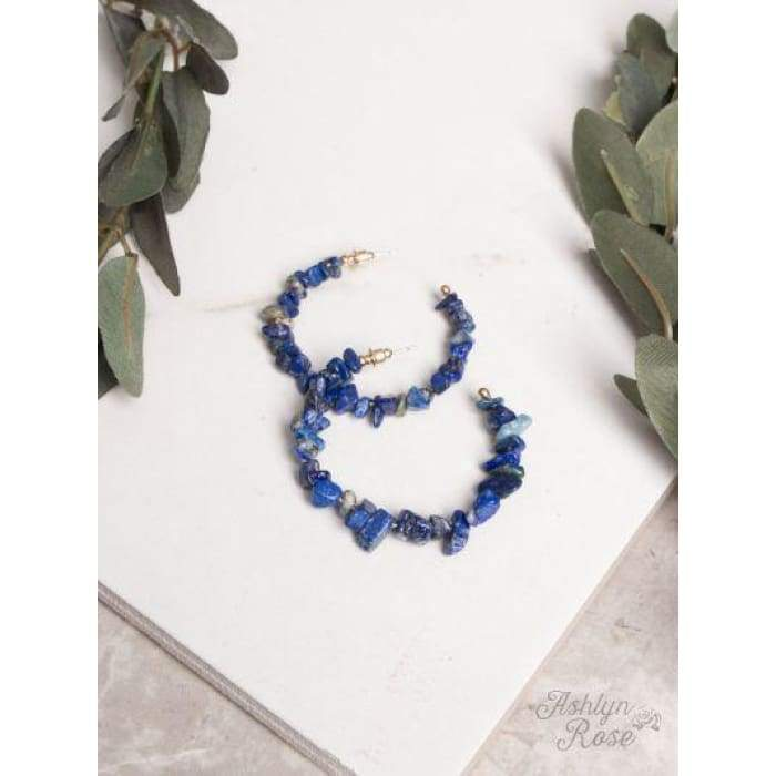 Earring Rock Natural Stone Hoop Deep River Blue - Accessories- Jewelry and Totes