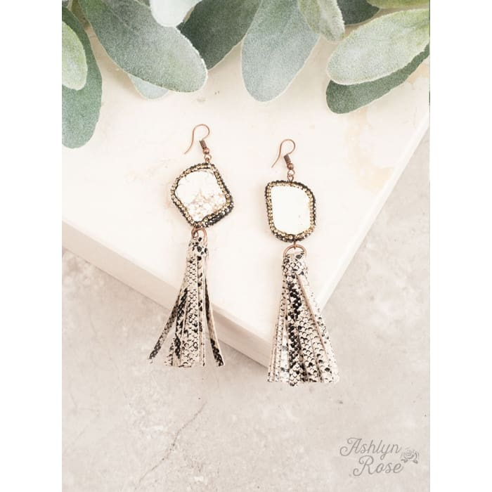 Earring Rock the Look Snakeskin Tassel - Accessories- Jewelry and Totes