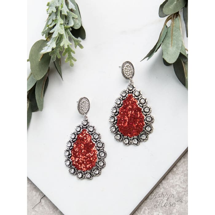 Earring Sparkling Red Teardrop Silver Halo - Accessories- Jewelry and Totes