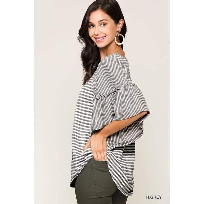 Excuse me Miss Heather Grey Flutter Sleeve Top S-L - Apparel- Missy Sizes Small-Xlarge