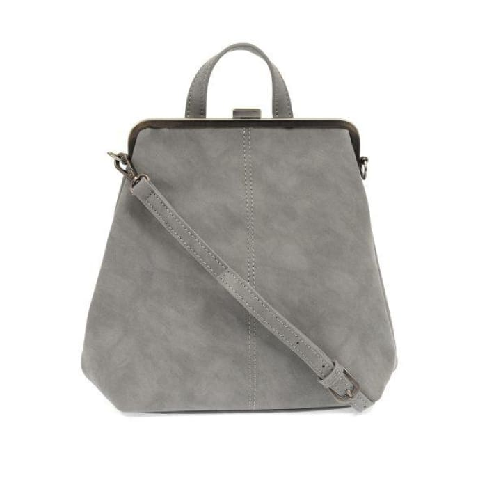 French Grey Phyllis Nubuck Frame Convertible Purse Tote Backpack - Accessories- Jewelry and Totes