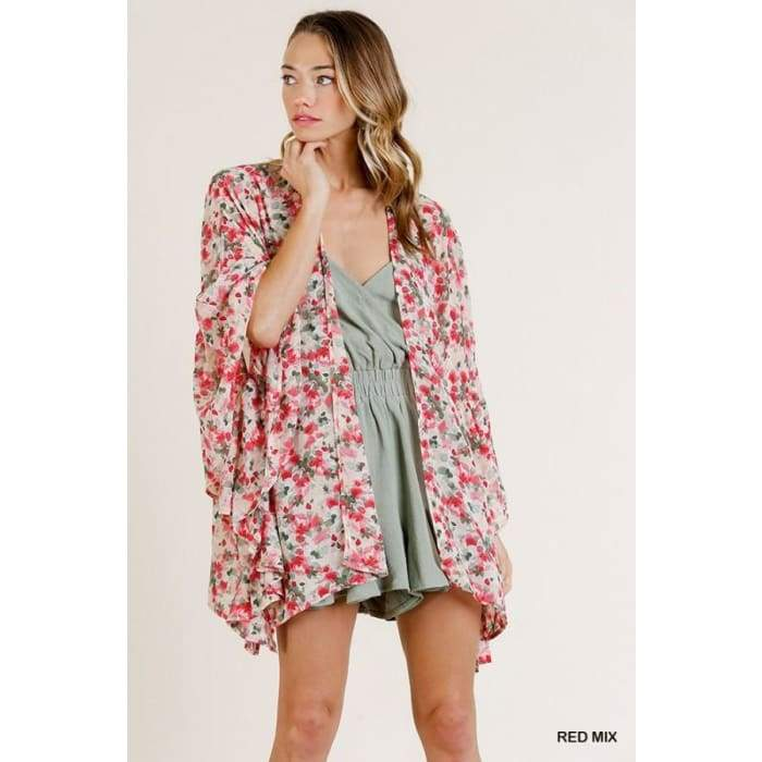In my Poppy Red Garden Kimono Cardigan S-L - Apparel- Missy Sizes Small-Xlarge