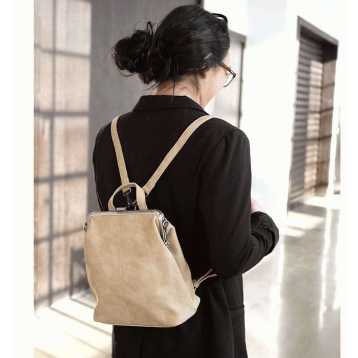Ivory Phyllis Nubuck Frame Convertible Purse Tote Backpack - Accessories- Jewelry and Totes