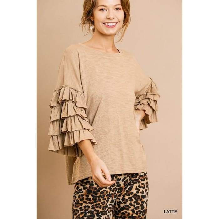 Latte Layers Ruffled Top S-L - Apparel- Missy Sizes Small-Xlarge