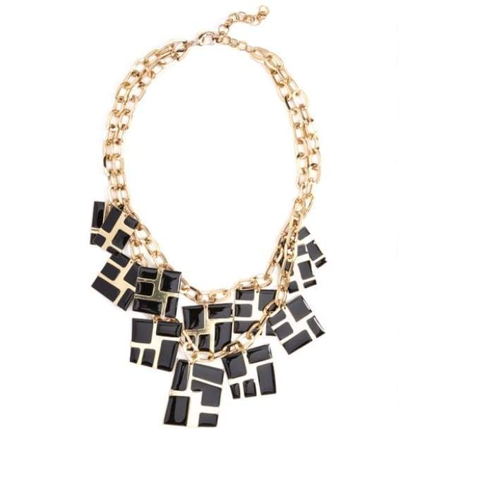 Necklace Cascading Cube Black Zenzii - Accessories- Jewelry and Totes