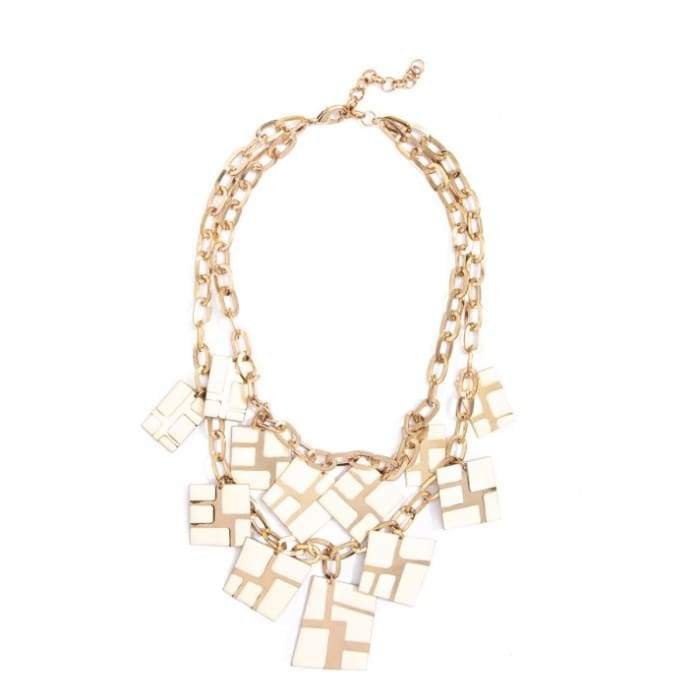 Necklace Cascading Cube Cream Zenzii - Accessories- Jewelry and Totes