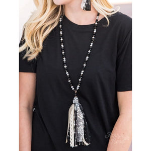 Necklace Monochromatic Black and Silver Tassel - Accessories- Jewelry and Totes