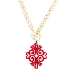 Necklace Twirling Blossom Red Glitter Zenzii - Accessories- Jewelry and Totes