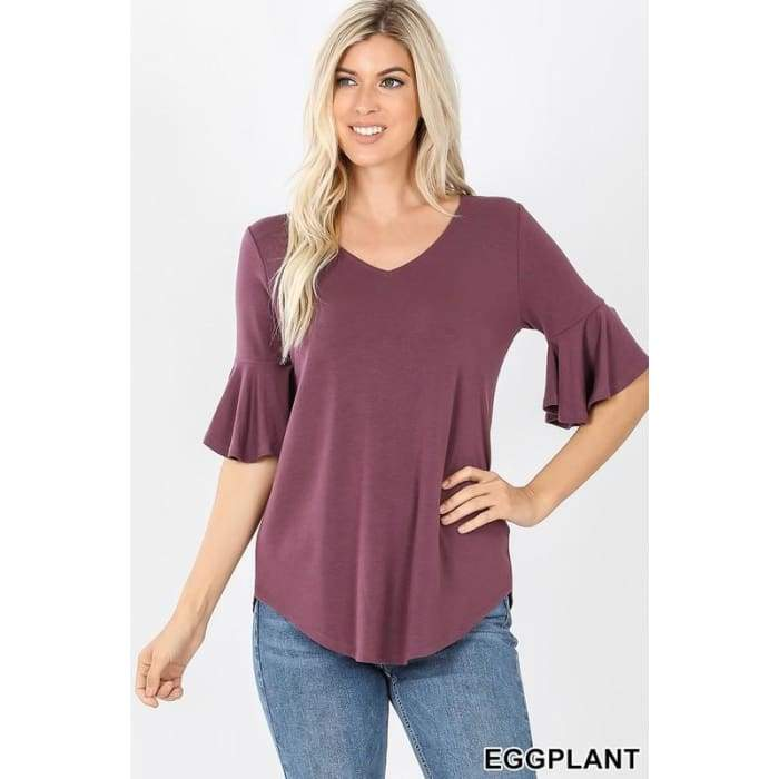 Never Basic Waterfall Sleeve Top Four Colors! S-3XL - XLarge / Eggplant - Apparel - Plus Size 1XL - 3XL
