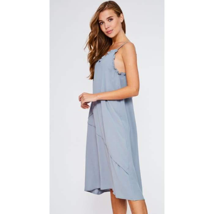 Ruffle Up Camisole Dress Dusty Blue - Apparel- Missy Sizes Small-Xlarge