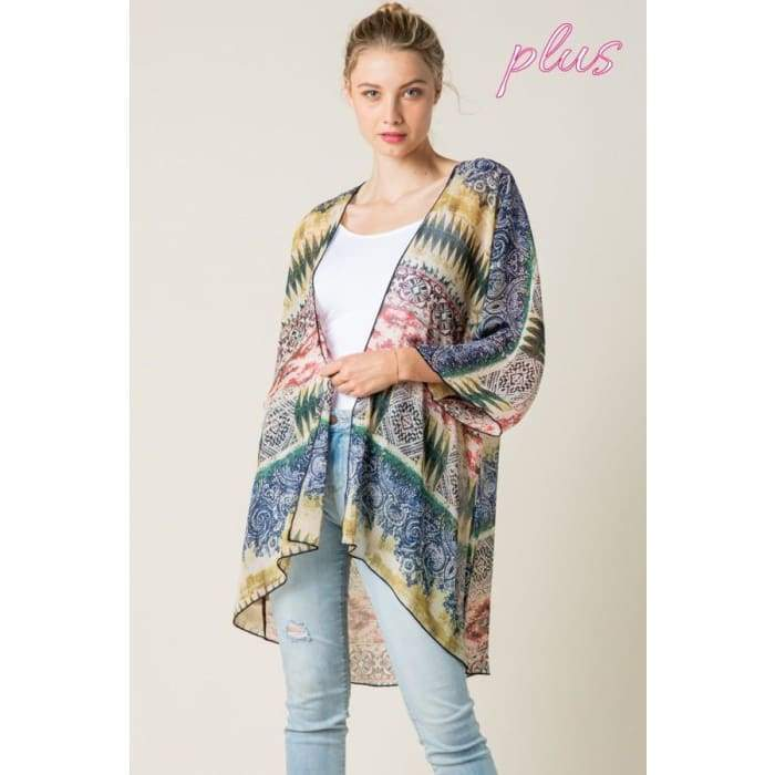 Sheer Joy Olive Kimono Cardigan S-3XL - Apparel - Plus Size 1XL - 3XL