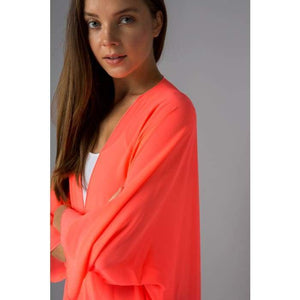 Sheer Luck Solid Kimono Cardigan S-3XL 10 Colors! - Small / Neon Coral - Apparel - Plus Size 1XL - 3XL