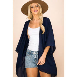 Sheer Luck Solid Kimono Cardigan S-2XL **9 Colors! - Large / Navy - Apparel - Plus Size 1XL - 3XL