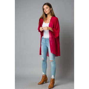 Sheer Luck Solid Kimono Cardigan S-3XL 10 Colors! - Small / Burgundy - Apparel - Plus Size 1XL - 3XL