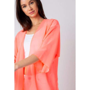 Sheer Luck Solid Kimono Cardigan S-3XL 10 Colors! - Small / Coral - Apparel - Plus Size 1XL - 3XL
