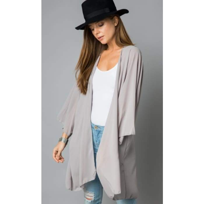 Sheer Luck Solid Kimono Cardigan S-3XL 10 Colors! - Small / Taupe - Apparel - Plus Size 1XL - 3XL